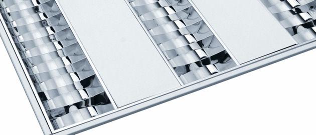 Светильники с зеркальным растром и белыми вставками имеют элегантный дизайн и привлекательный внешний вид